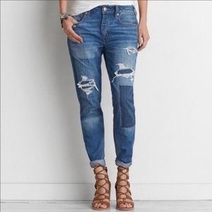{American Eagle} TomGirl distressed patched jeans